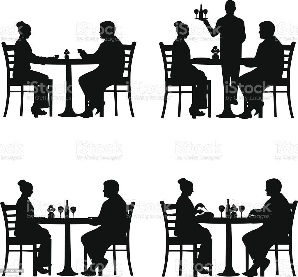 Business lunch in the restaurant vector art illustration