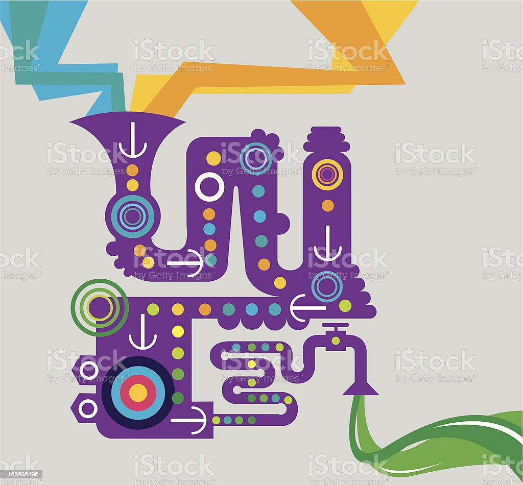 Business Machine or Environmental Green Background royalty-free stock vector art