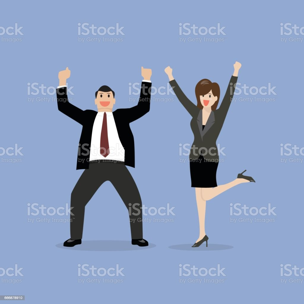Business man and business woman celebrating success vector art illustration