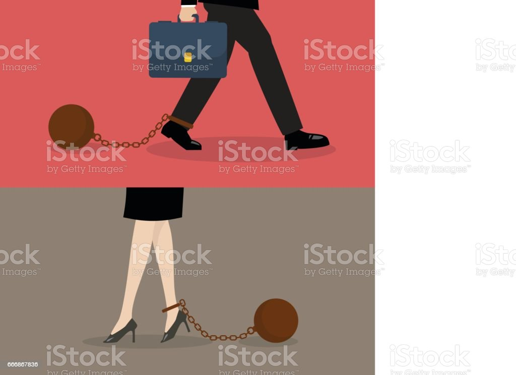 Business man and business woman with weight burden vector art illustration