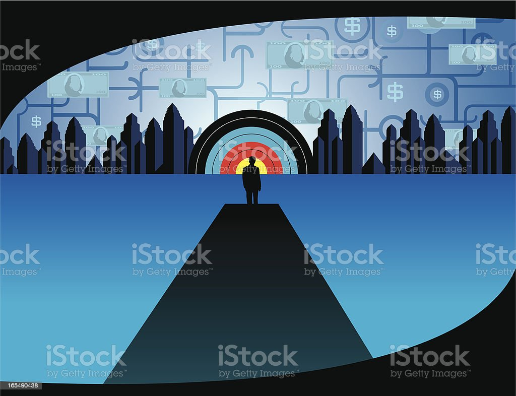 Business Man and Target City royalty-free stock vector art