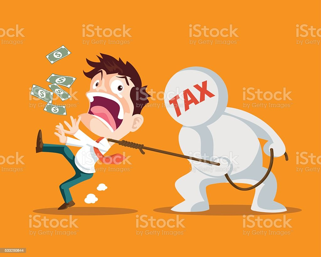 business man and tax.Tie inevitable vector art illustration
