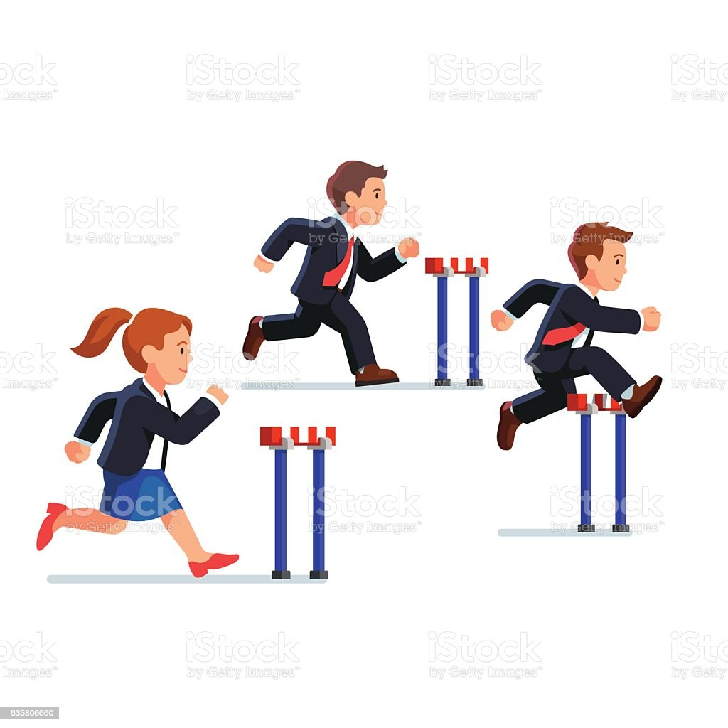 Business man and woman competing in a race vector art illustration