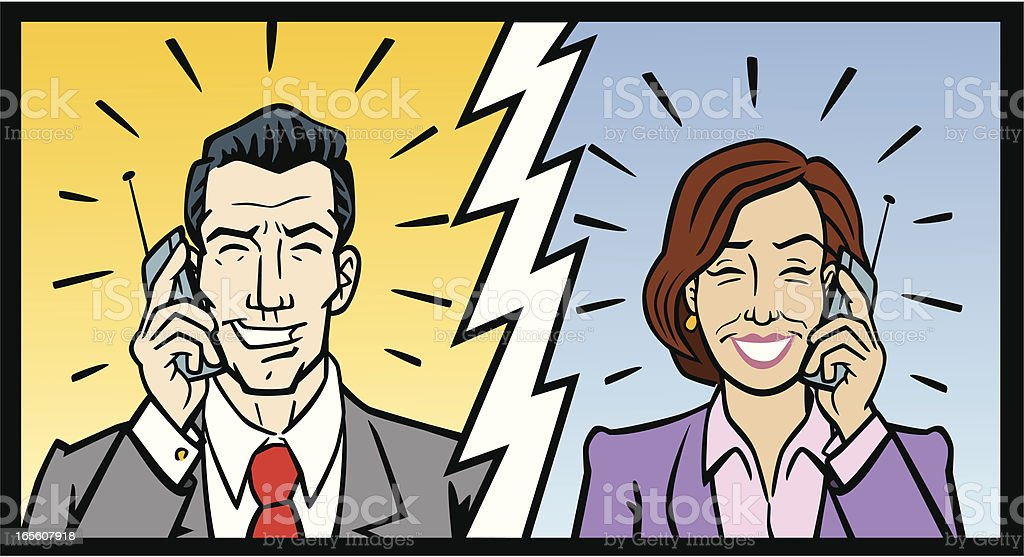 Business Man and Woman On Cell Phones royalty-free stock vector art