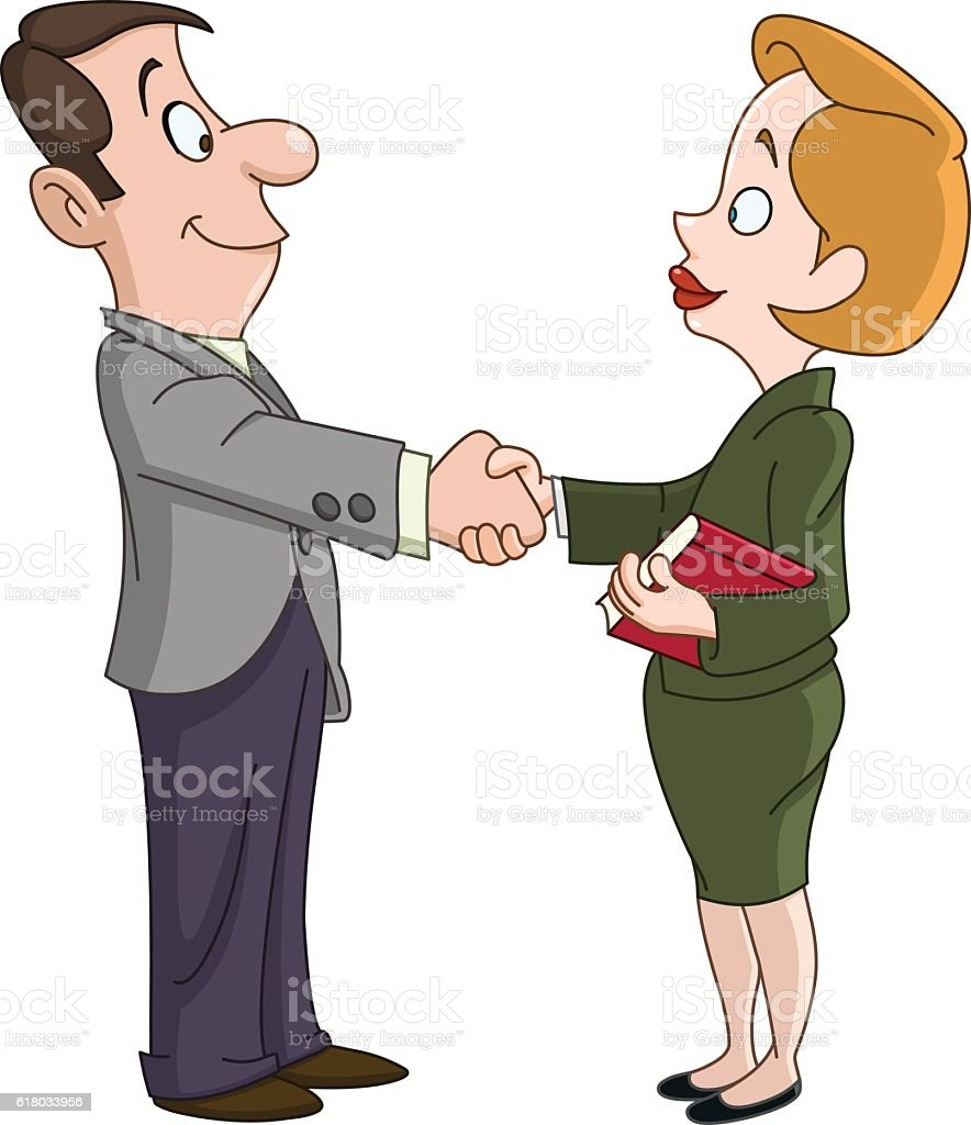 Business man and woman shaking hands vector art illustration