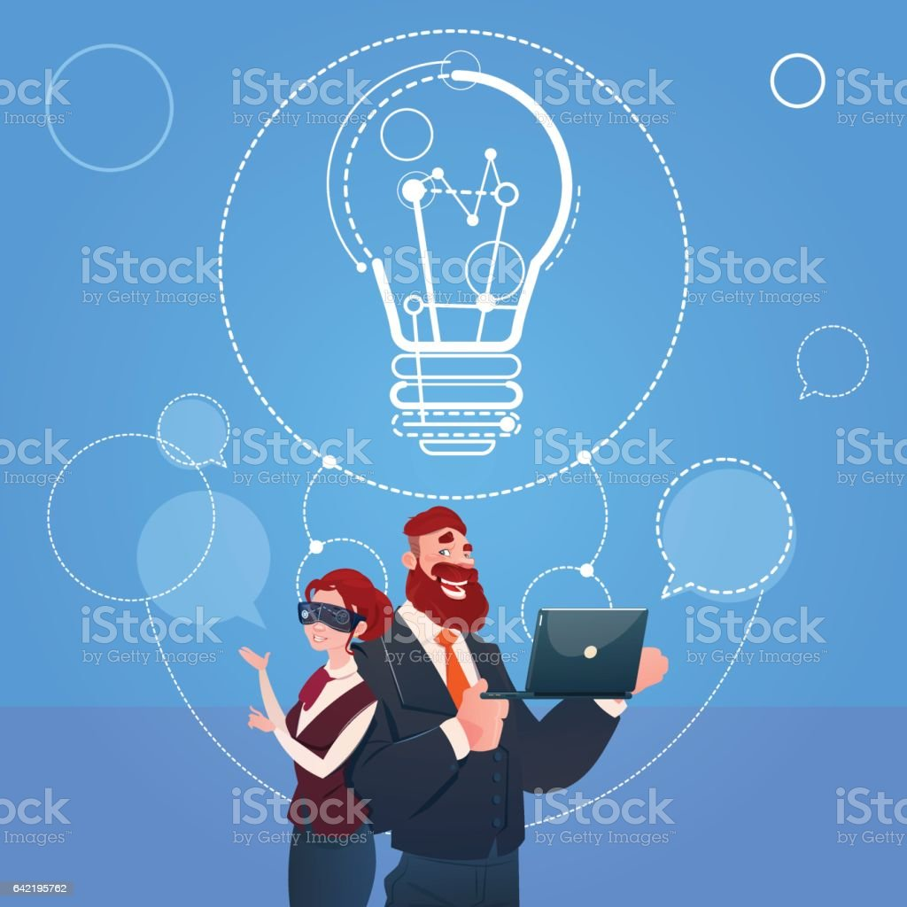 Business Man And Woman Wear Digital Reality Glasses New Idea Startup Concept vector art illustration