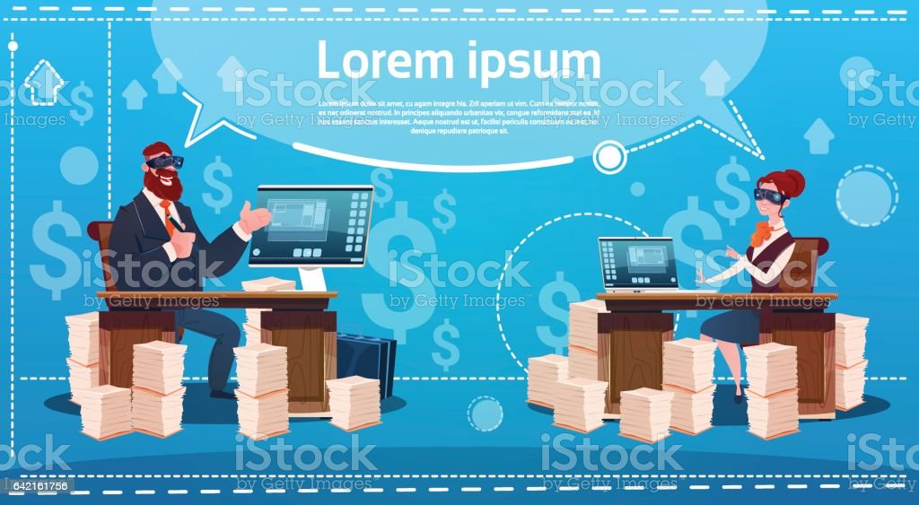 Business Man And Woman Wear Digital Virtual Reality Glasses Sitting Desk Office Working Place Computer vector art illustration