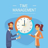 Business Man And Woman With Clock Time Management Concept