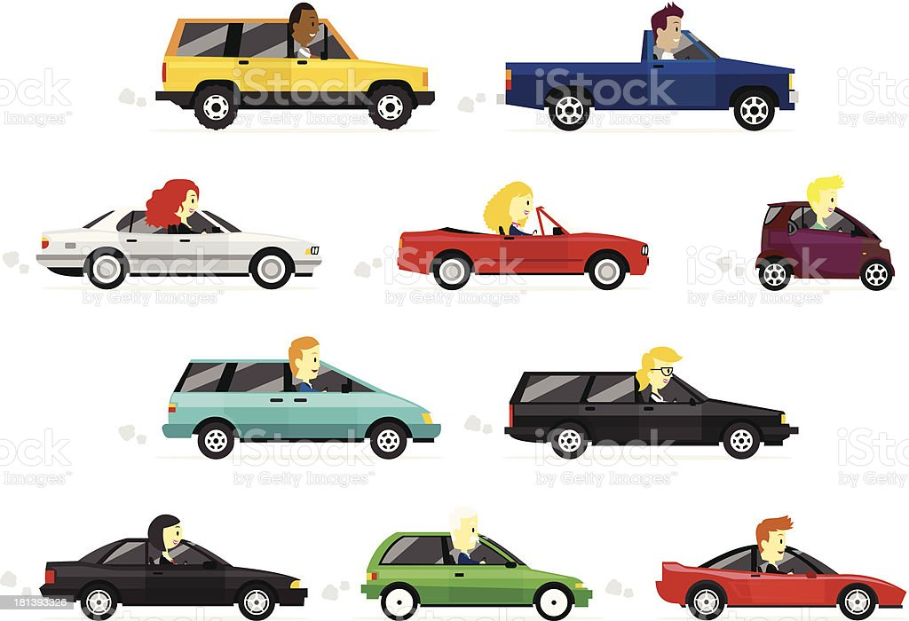 Business Man and Women driving Cars vector art illustration