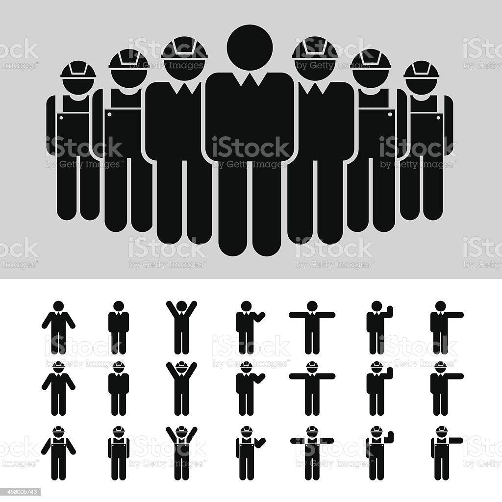 Business man , Architect , engineer , worker , icon set . vector art illustration