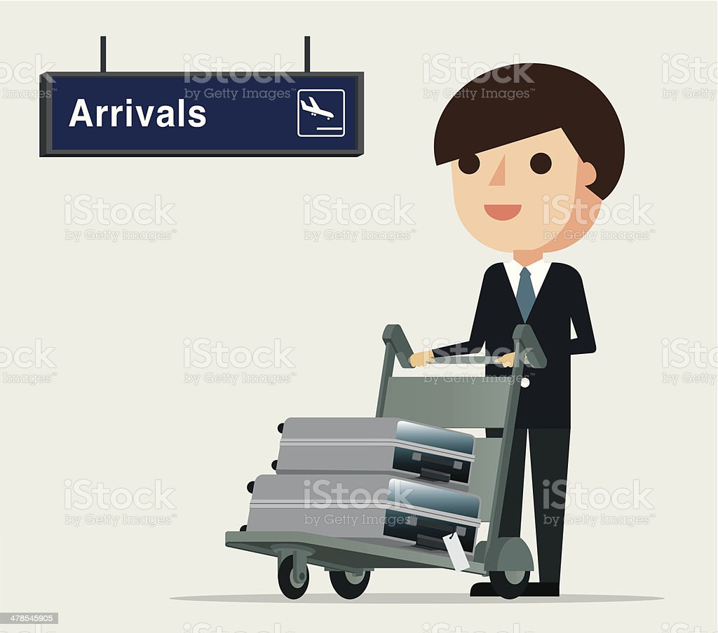 Business man at the Airport - Illustration vector art illustration