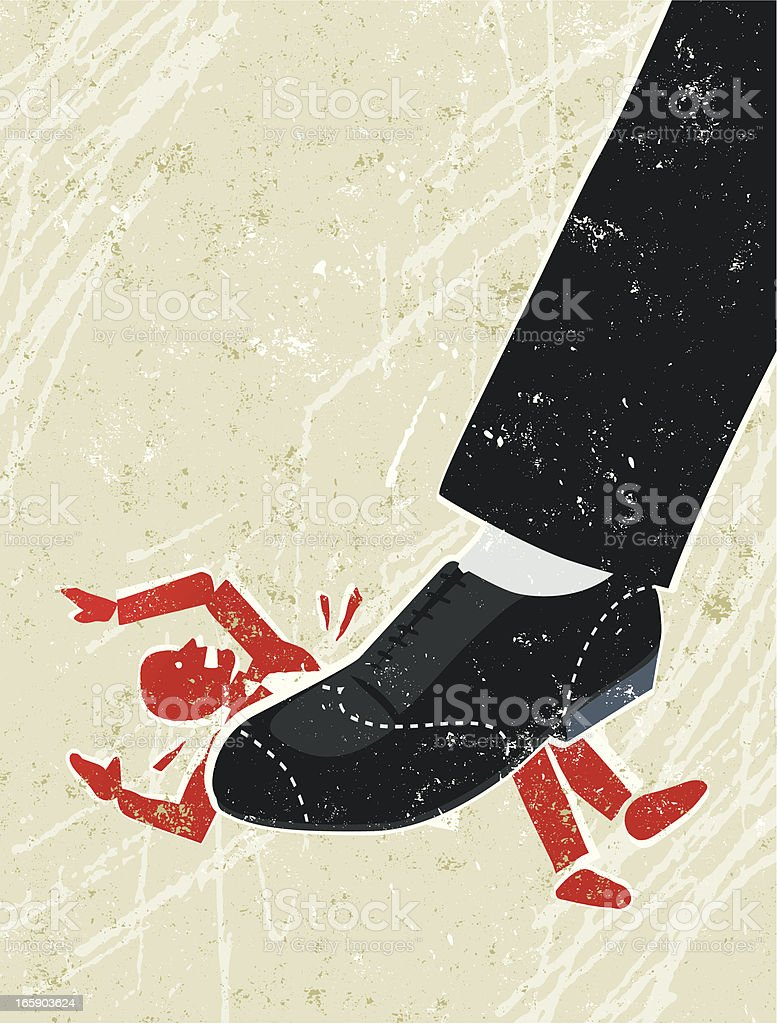Business Man Being Crushed Under a Giant Businessman's Foot vector art illustration