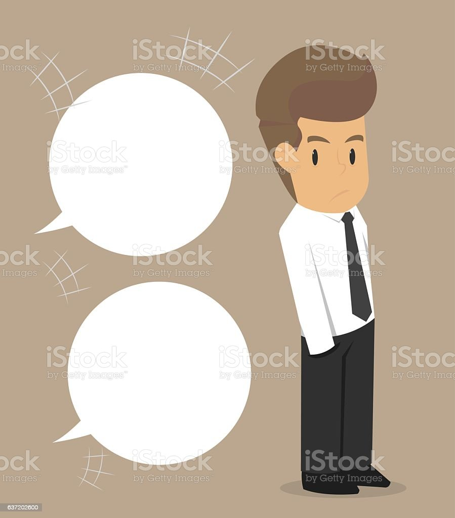 business man being questioned vector art illustration