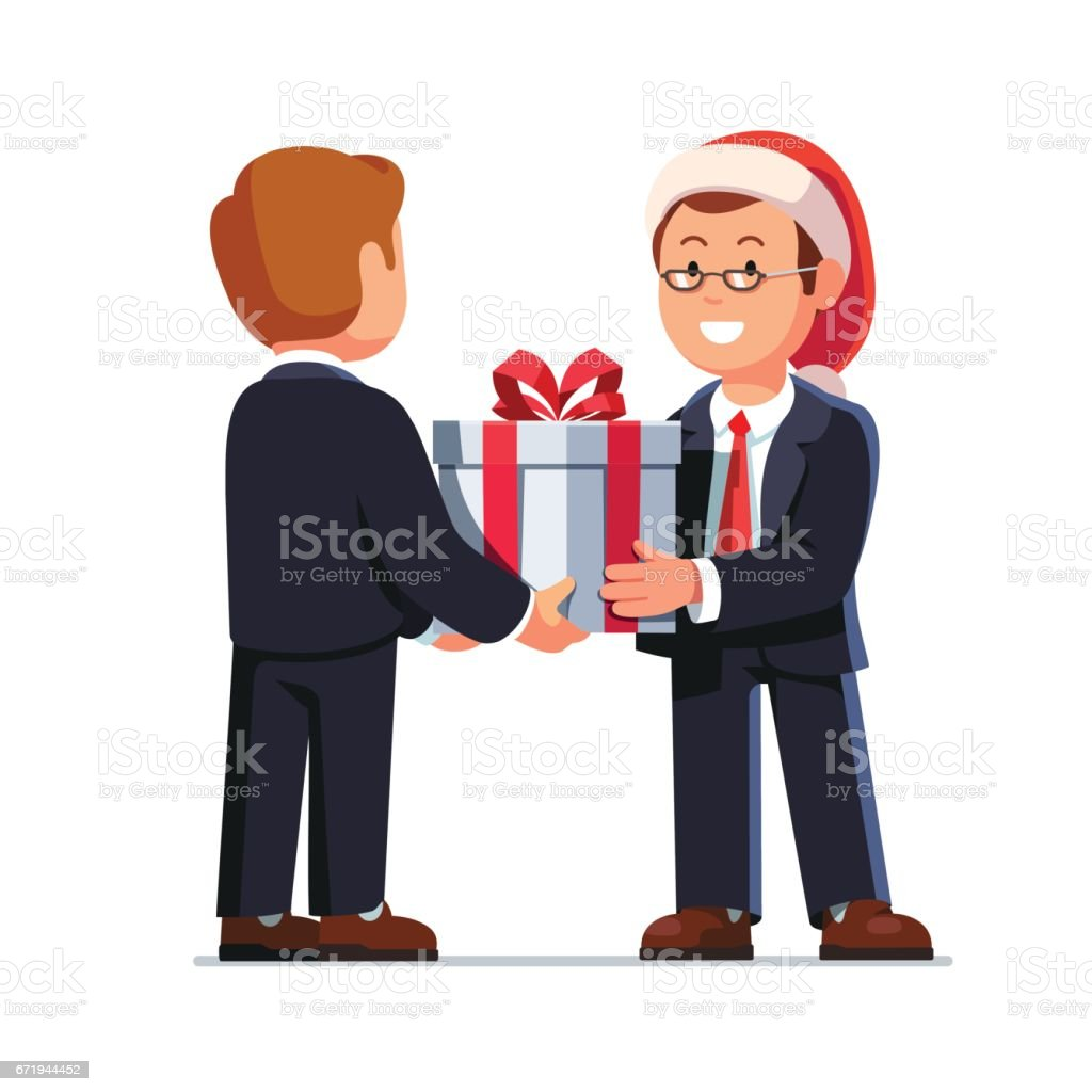 Business man boss giving gift box to employee vector art illustration