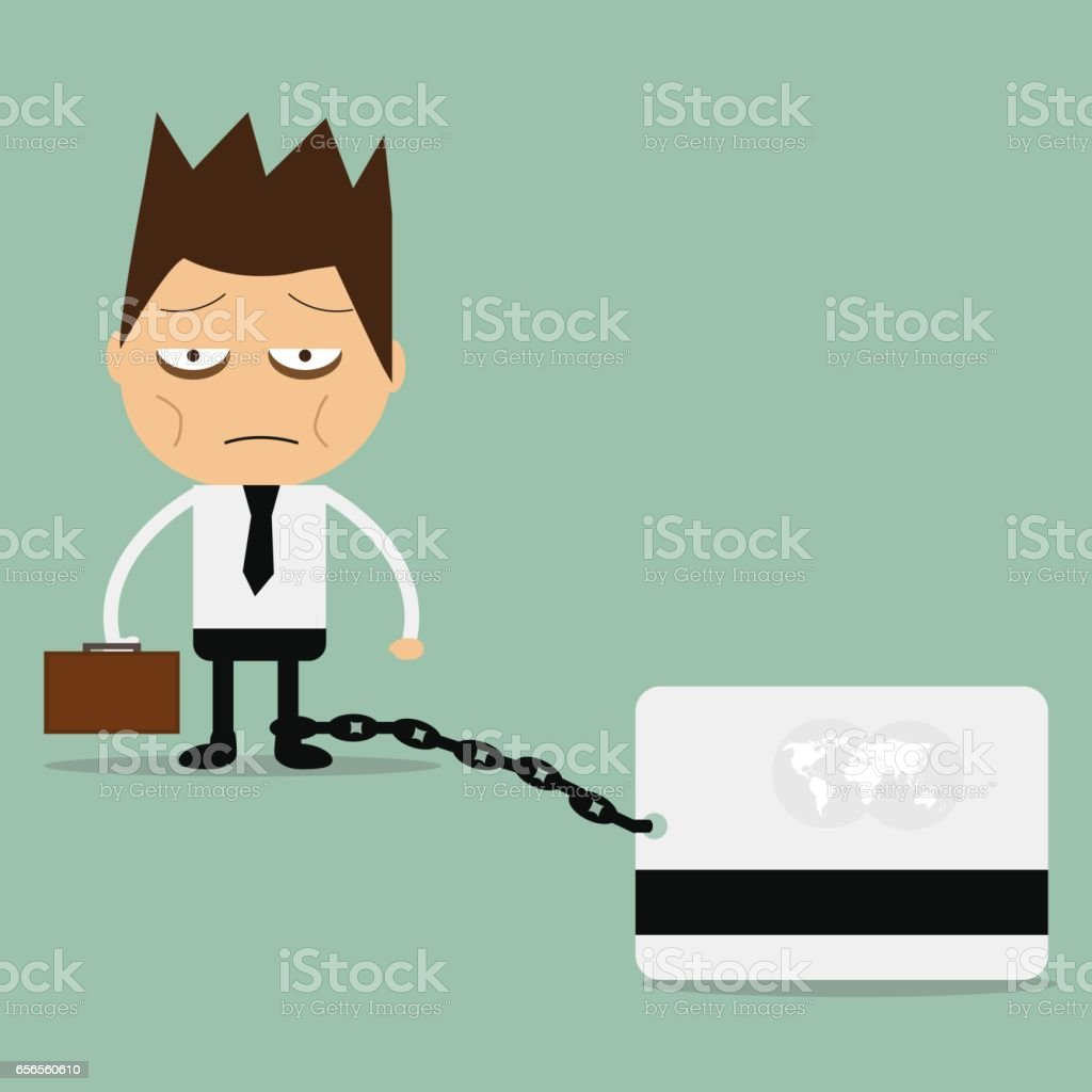 Business man burden with credit card. vector art illustration