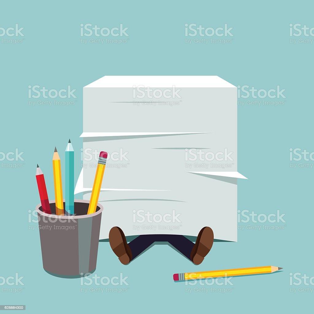 Business man buried under huge document paper pile vector art illustration