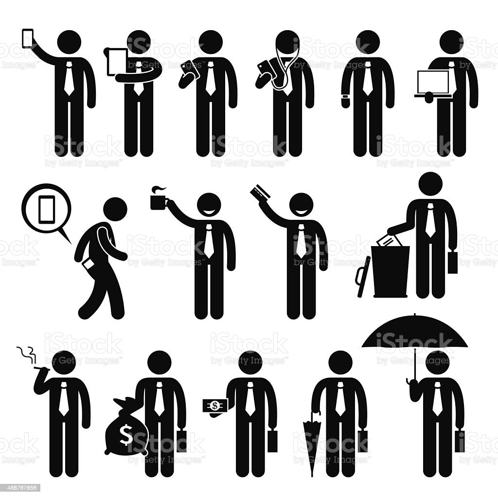 Business Man Businessman Holding Various Objects Pictogram vector art illustration