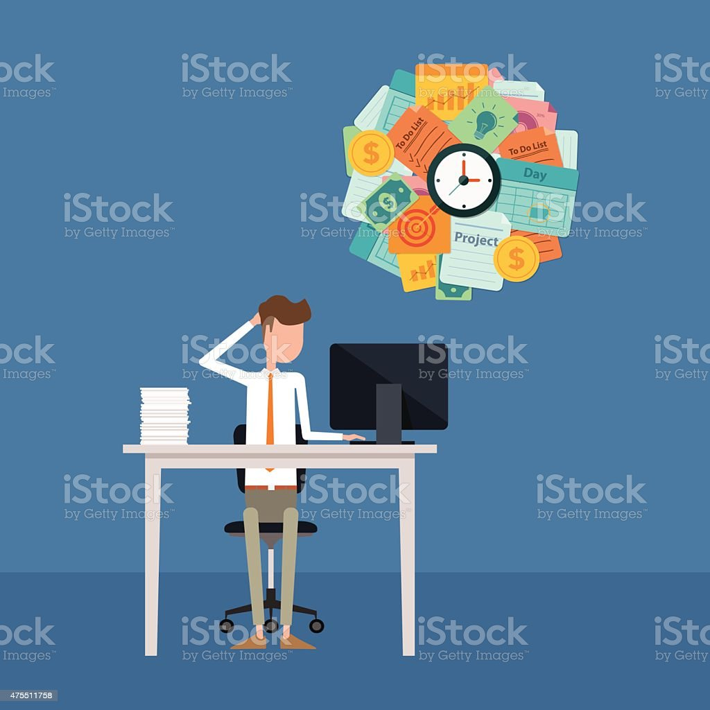business man busy and hard working concept vector art illustration