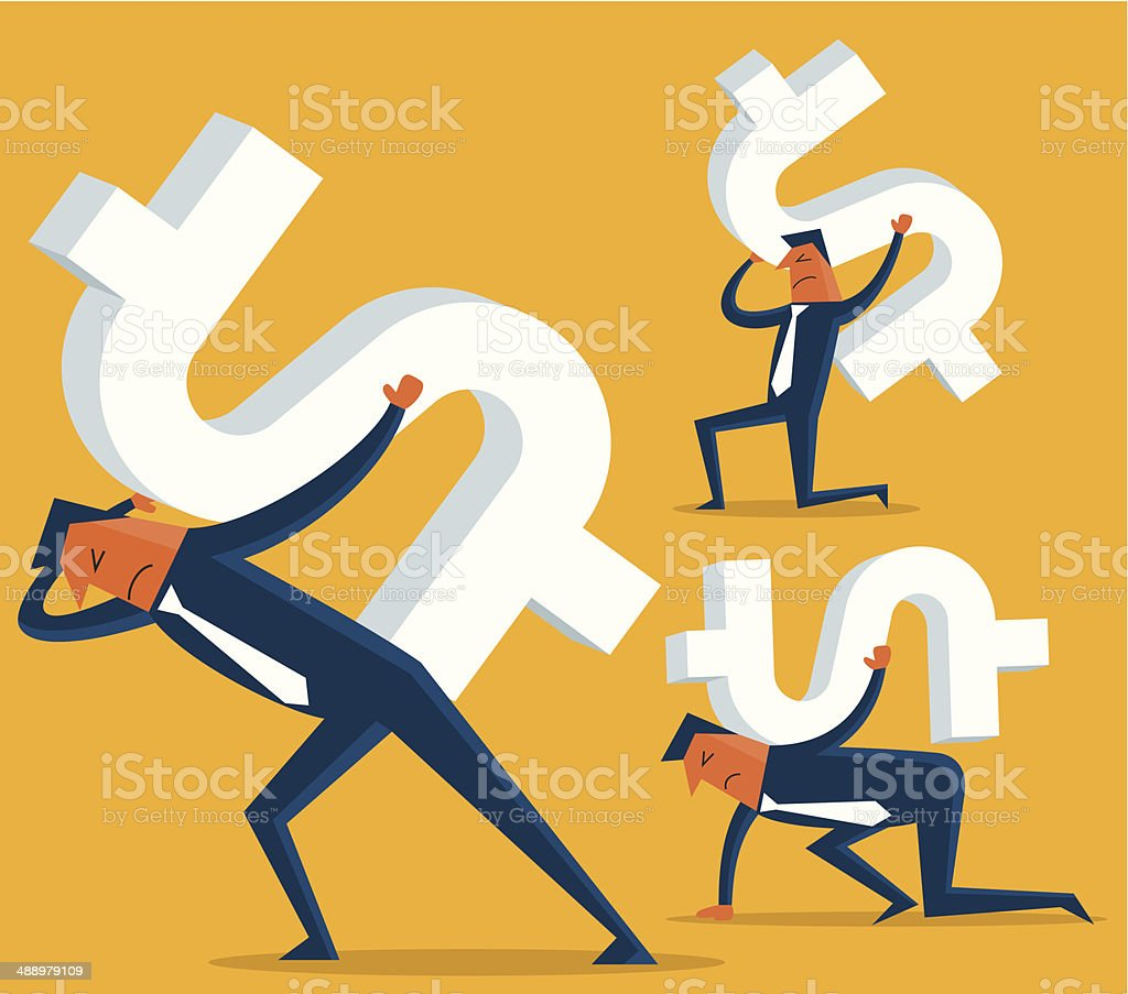Business Man Carrying a Giant Dollar Sign on his Back vector art illustration