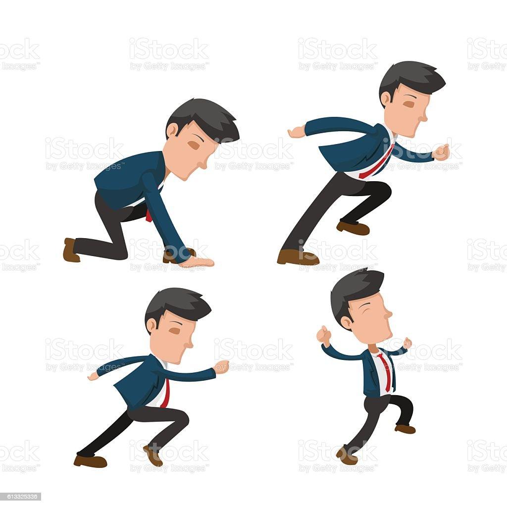 Business Man Cartoon Action Run Vector vector art illustration