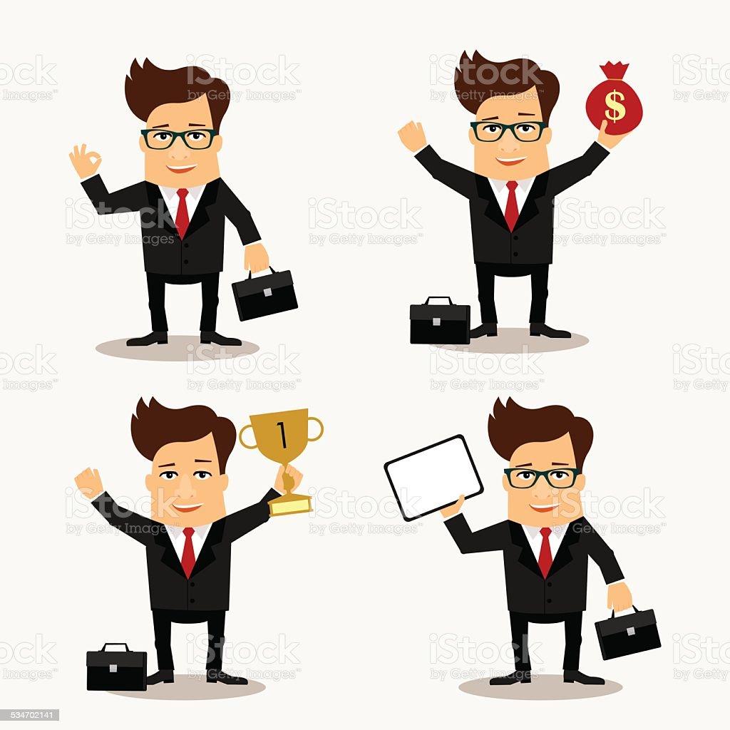 Business man cartoon characters set vector art illustration