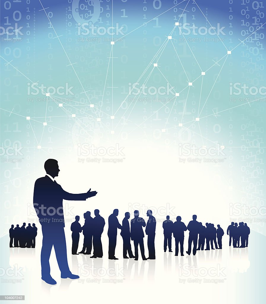 Business man CEO presenting his global financial team royalty-free stock vector art
