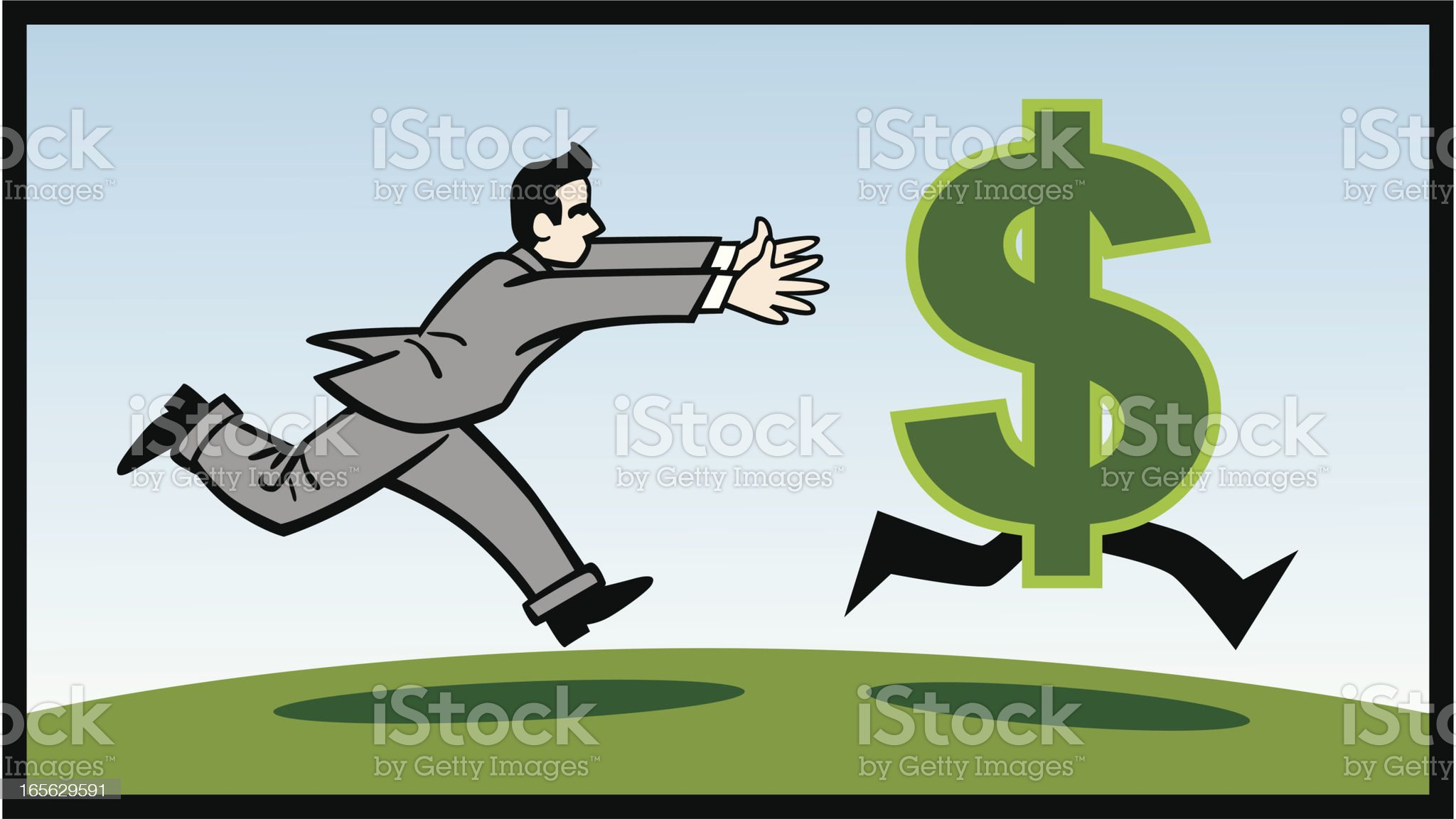 Business Man Chasing Money royalty-free stock vector art
