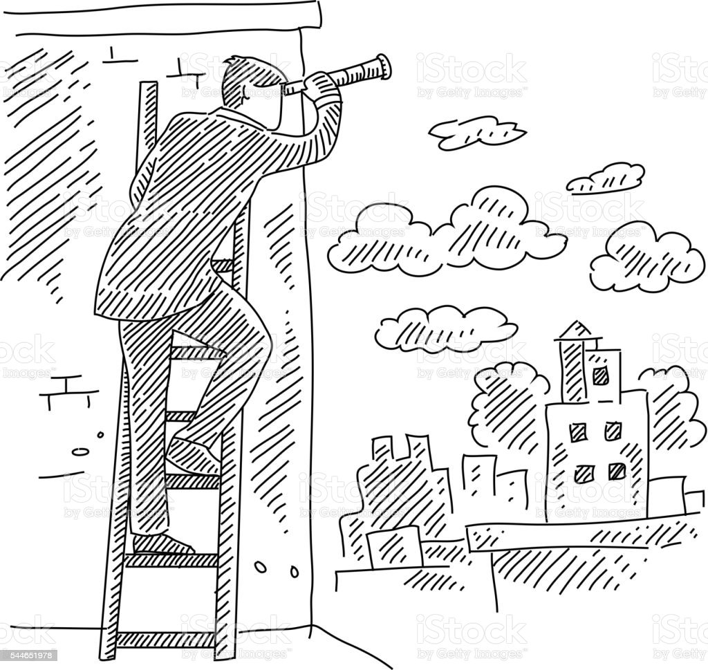 Business Man Climbing Ladder and Searching with Telescope Drawing vector art illustration