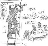 Business Man Climbing Ladder and Searching with Telescope Drawing