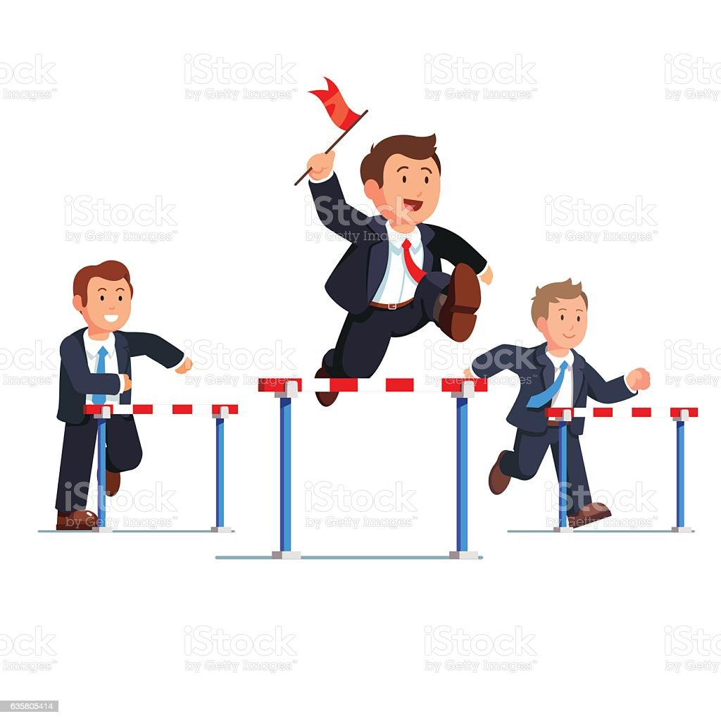 Business man competing in a steeplechase race vector art illustration