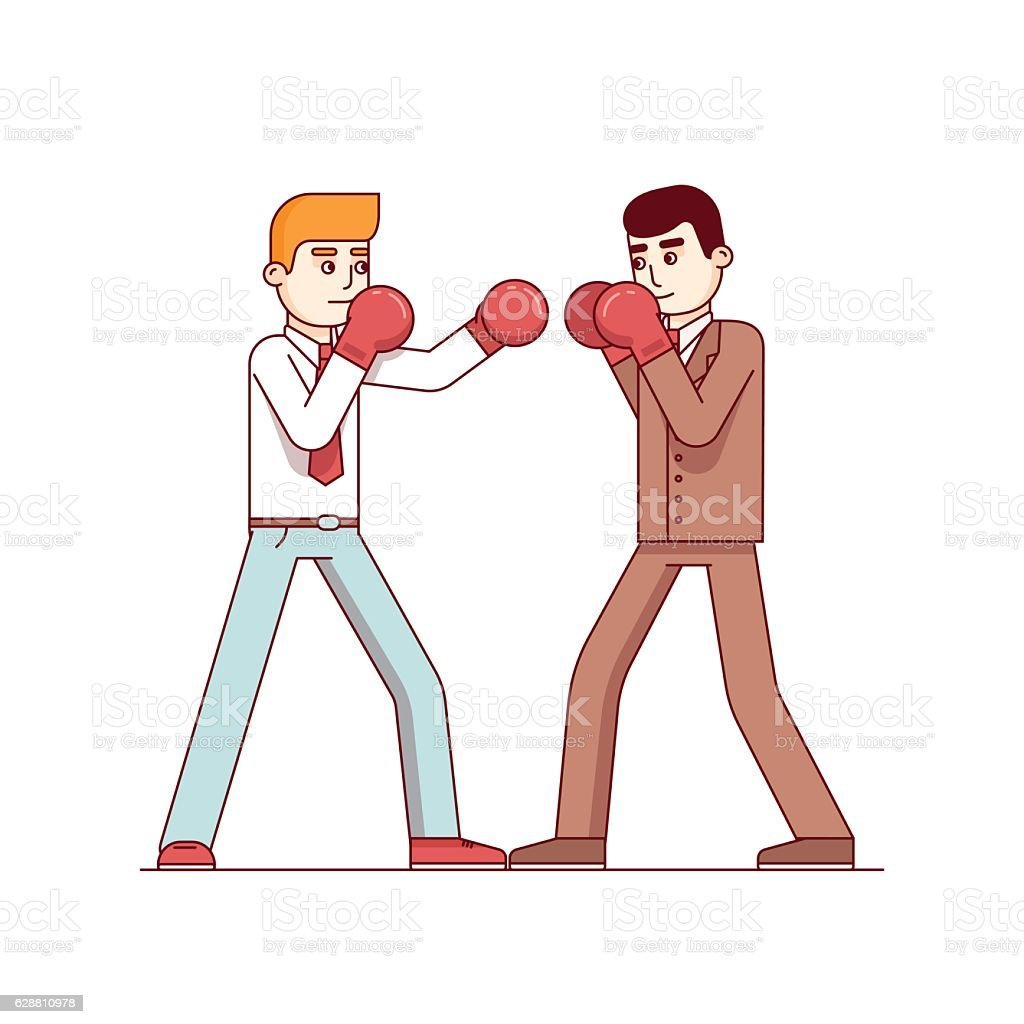 Business man competitors in suits fighting vector art illustration