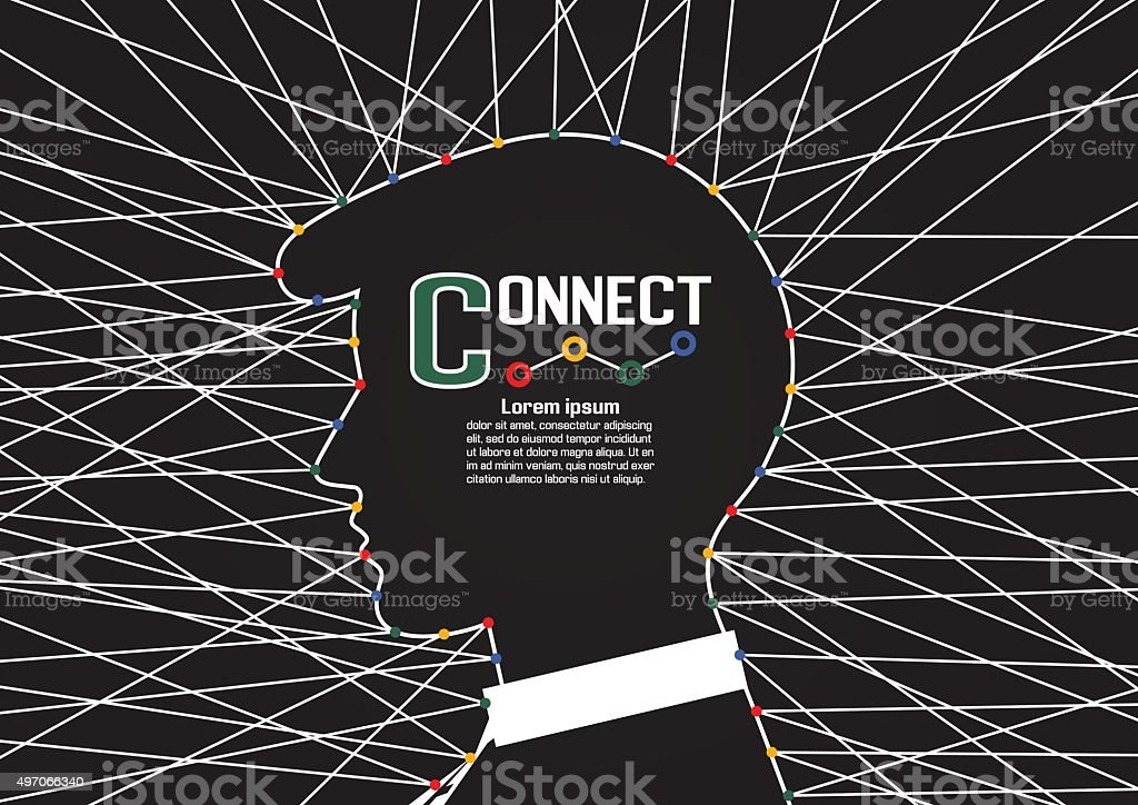 Business man connections vector art illustration