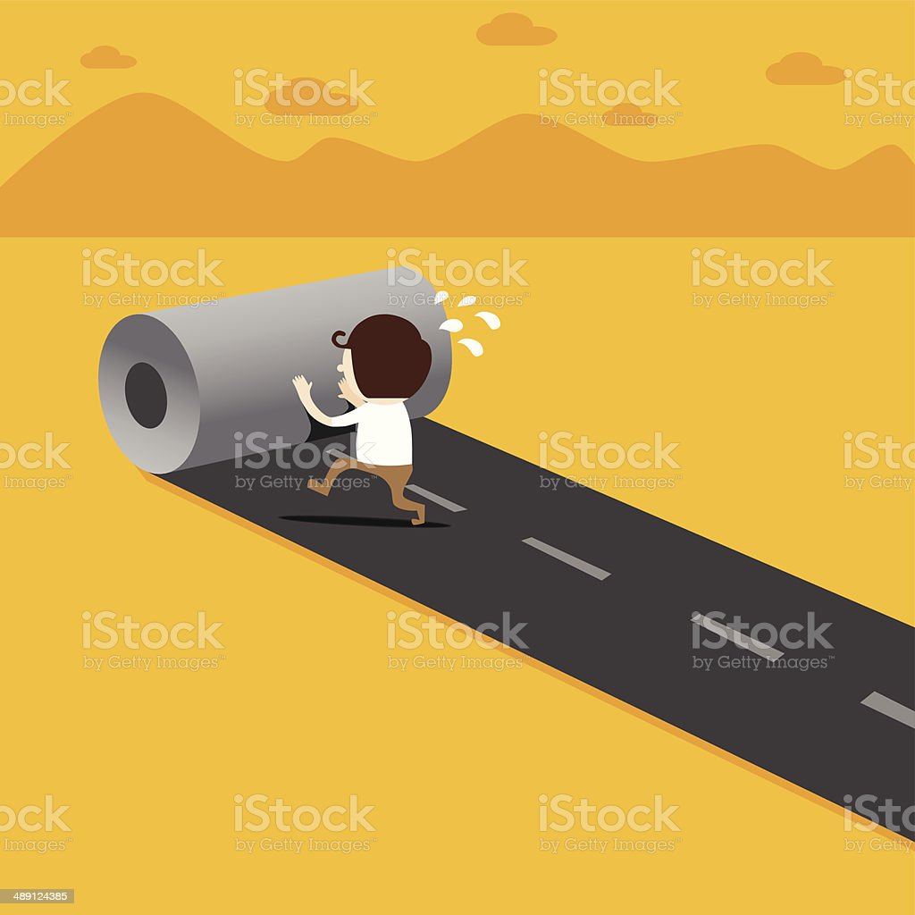 Business man create way to success vector art illustration
