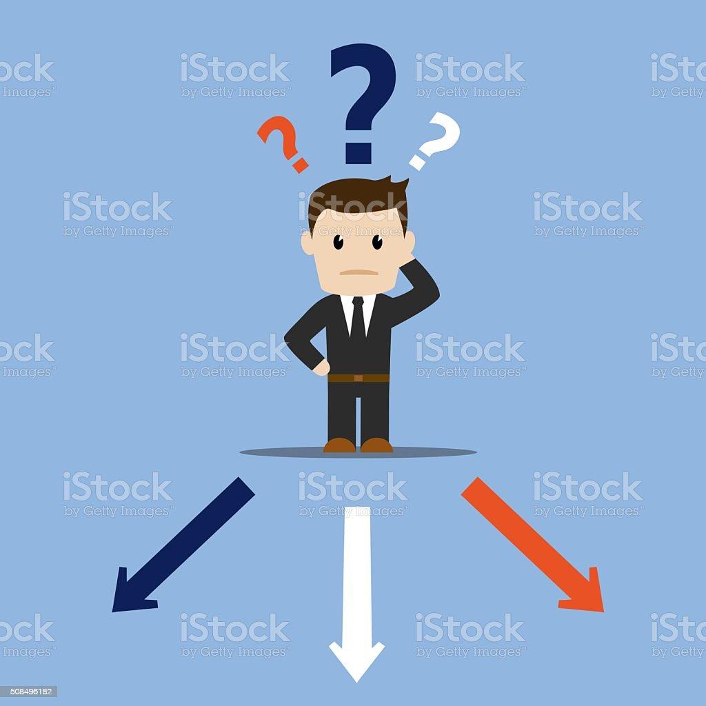 Business man decision vector art illustration