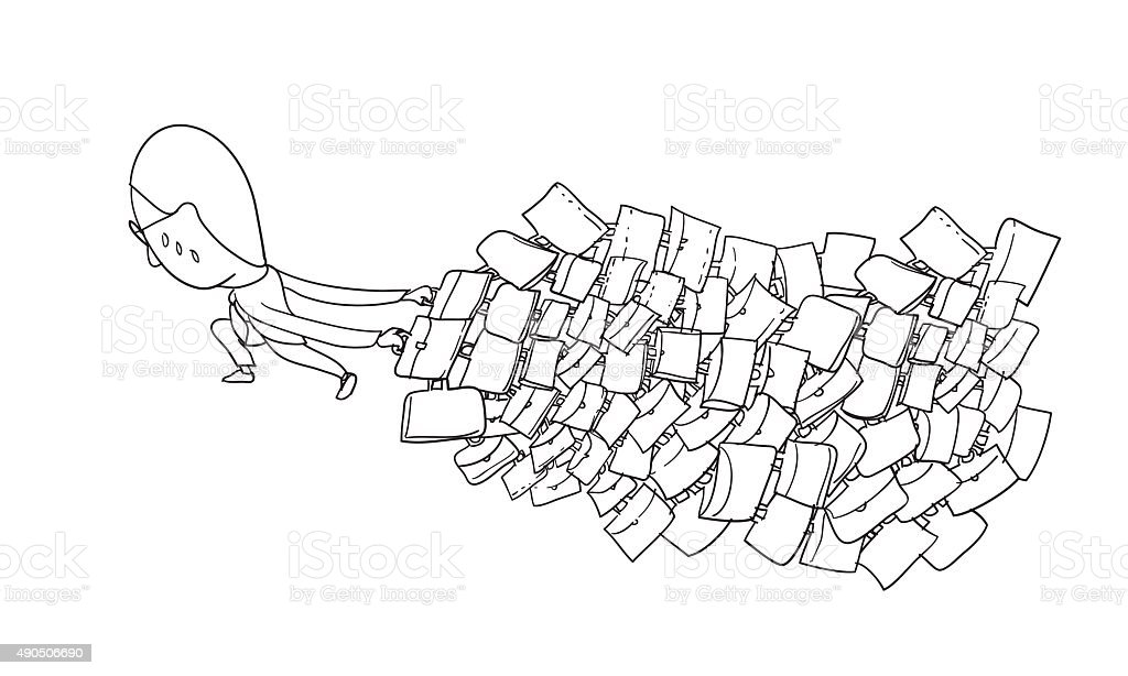 Business man dragging lot of his briefcase vector art illustration