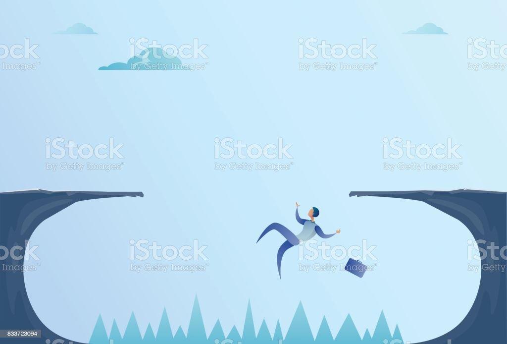 Business Man Falling In Cliff Gap Problem Finance Bankruptcy Concept vector art illustration