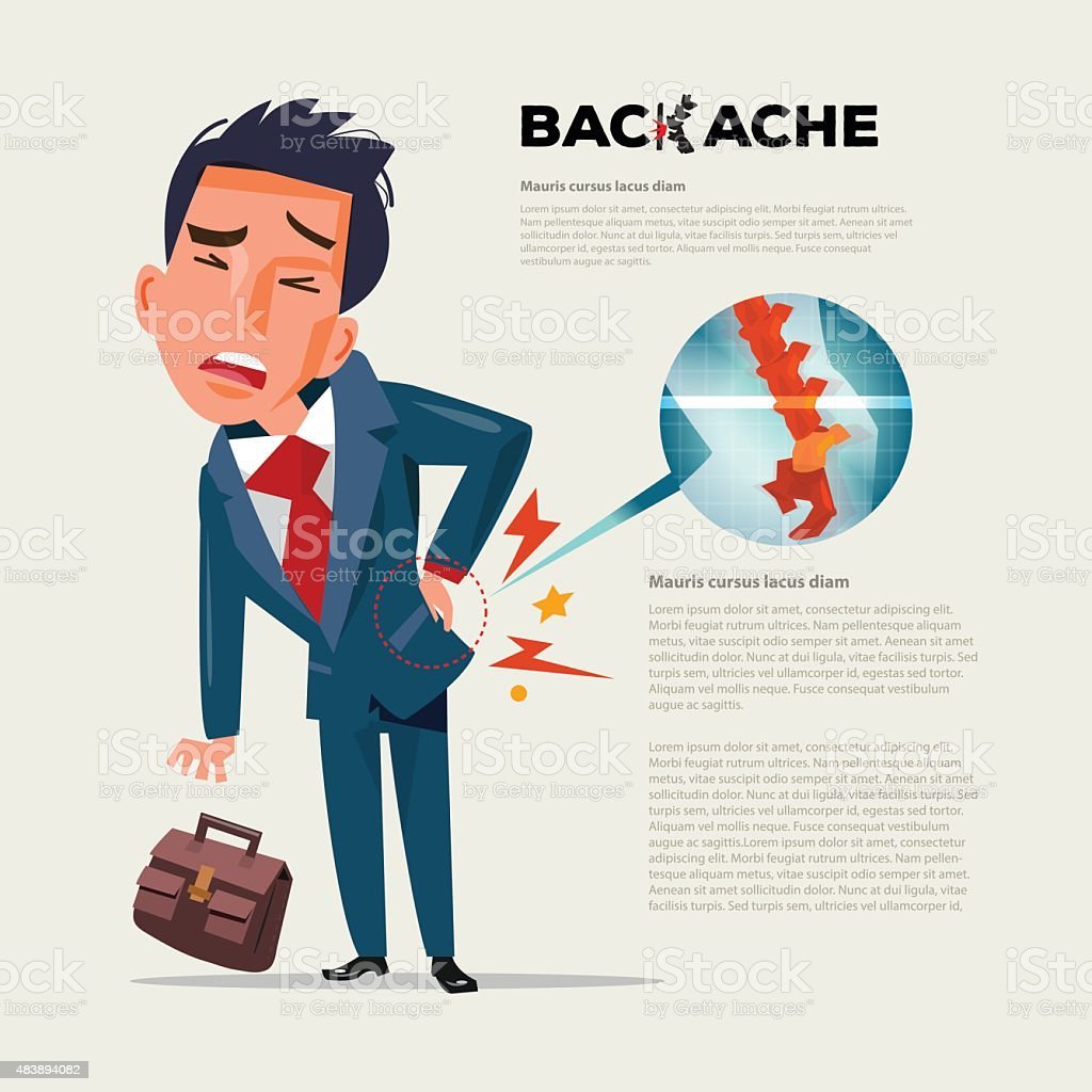 business man feeling pain in back. Businessman suffering from b vector art illustration
