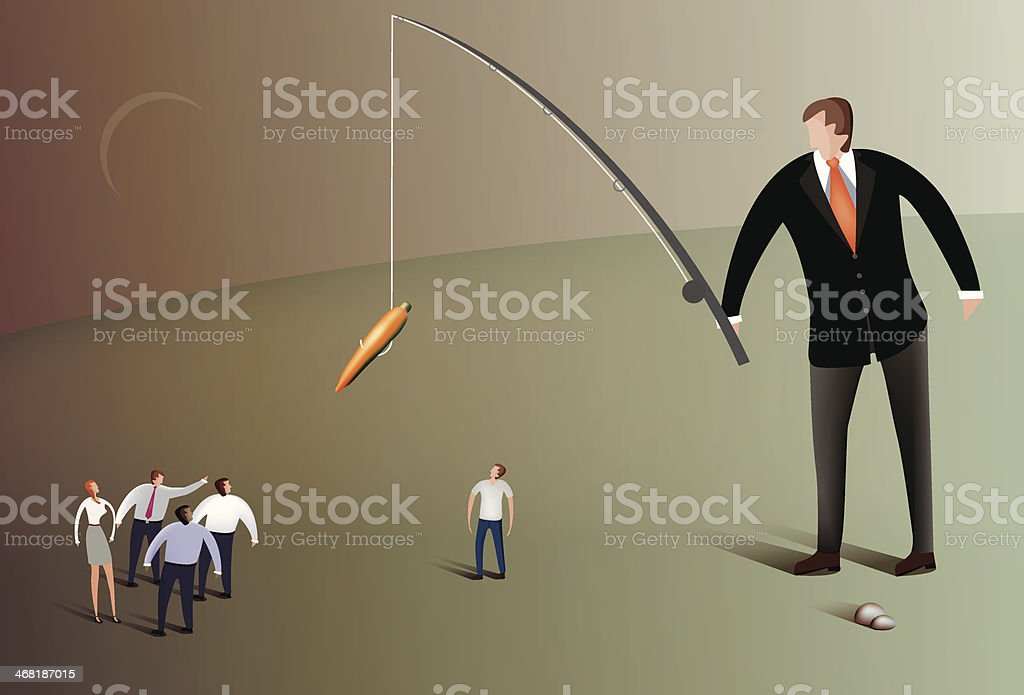 Business man fishing with carrot vector art illustration