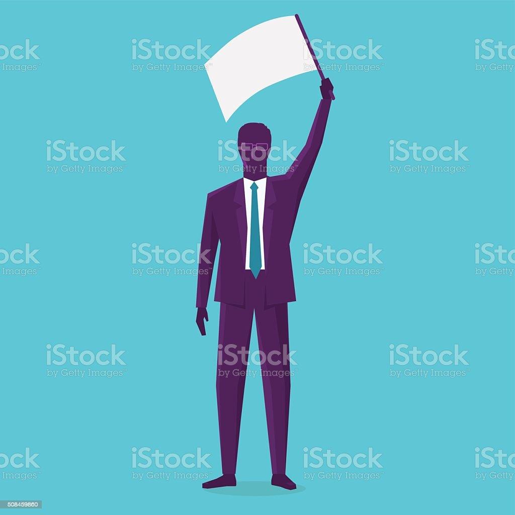 Business man flagging vector art illustration