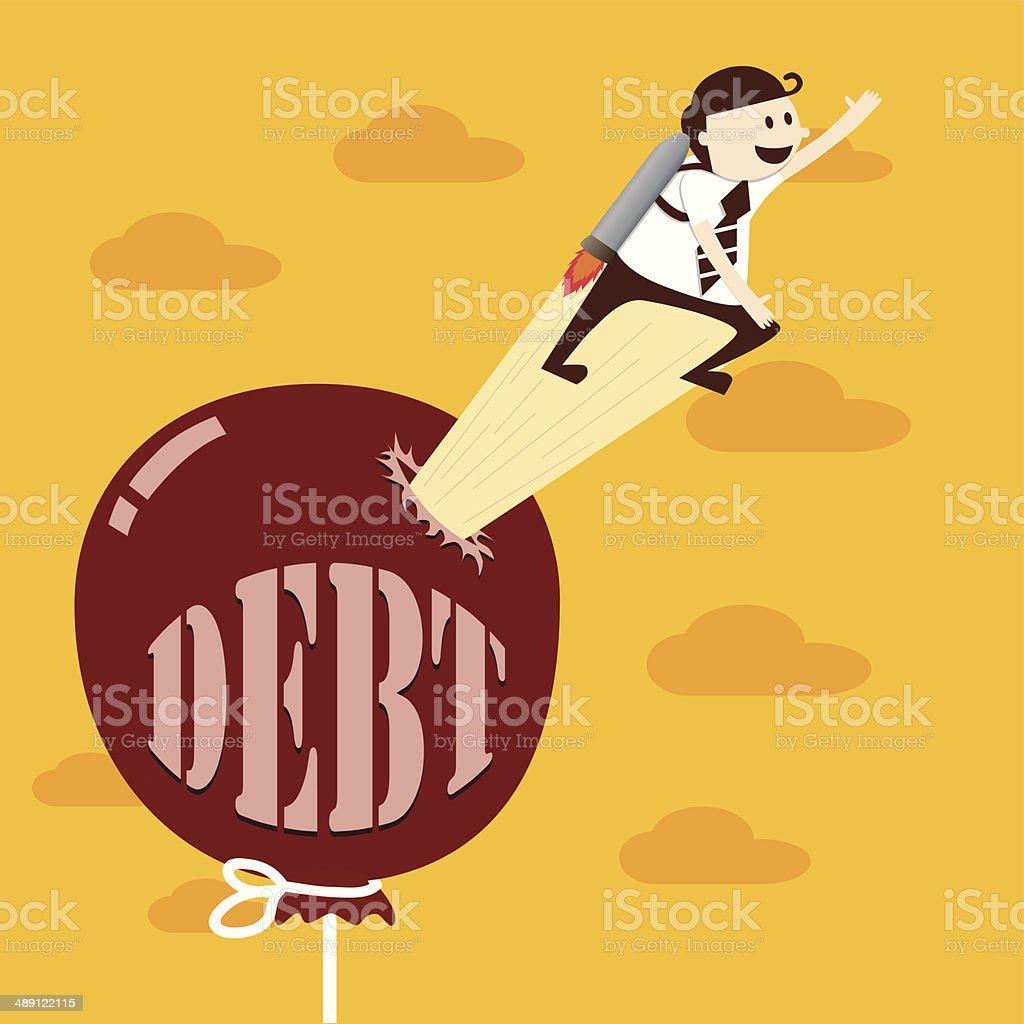 Business man flying with rocket from debt balloon vector art illustration