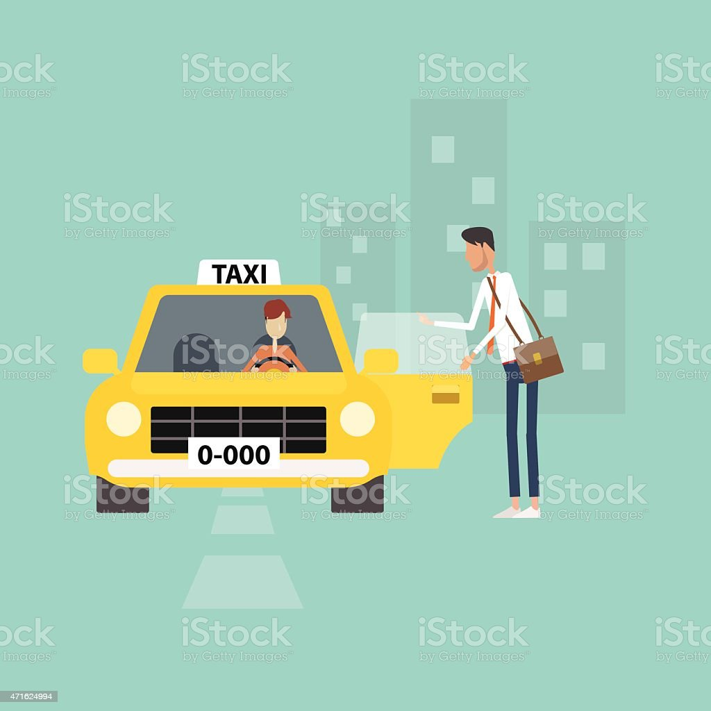business man getting taxi go to work business in city vector art illustration