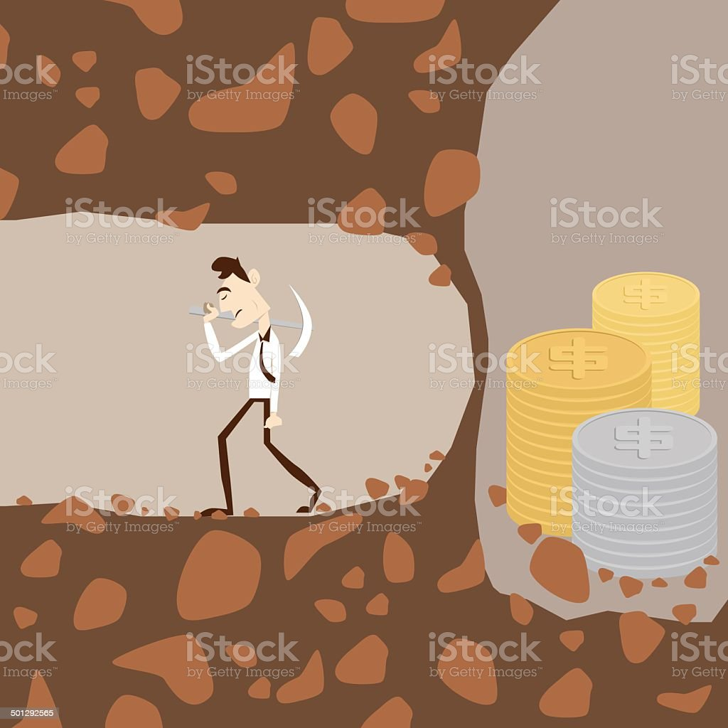 Business man give up before reach money vector art illustration