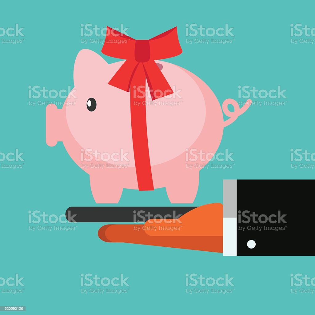 Business man giving piggy bank as a present vector art illustration