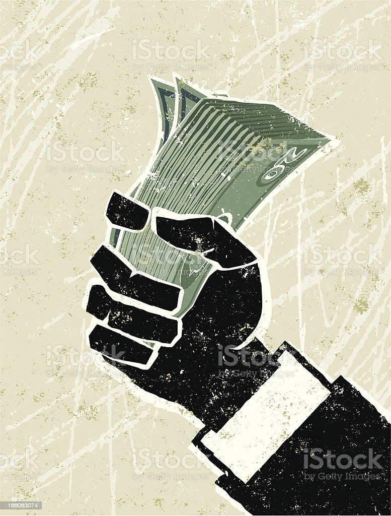 Business Man Hand holding Money vector art illustration