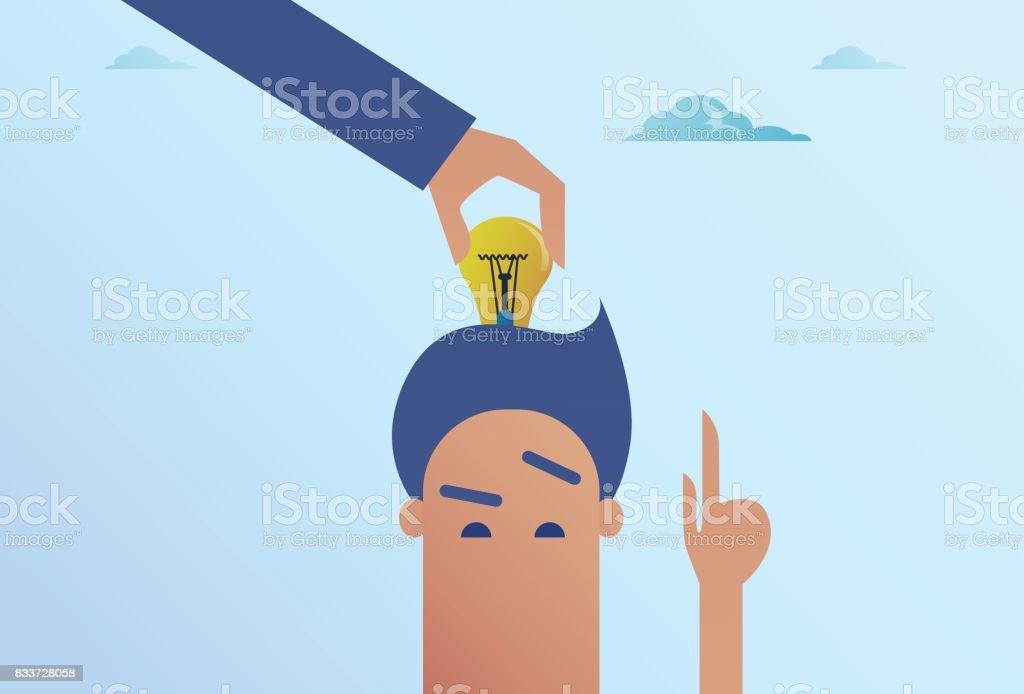 Business Man Hand Put Light Bulb In Head New Idea Concept vector art illustration