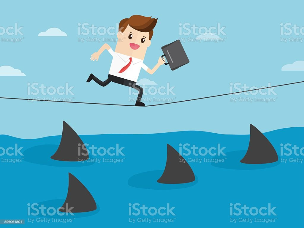 business man have courage running on rope vector art illustration
