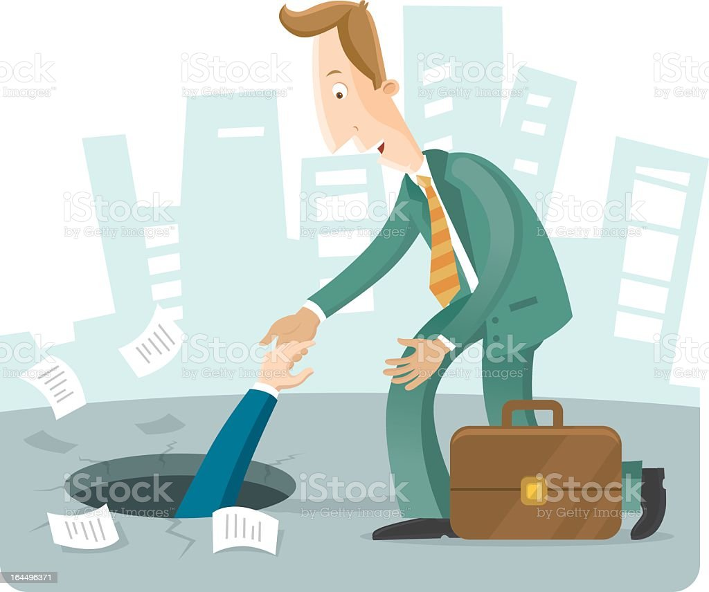 Business man helping another man out of a hole vector art illustration