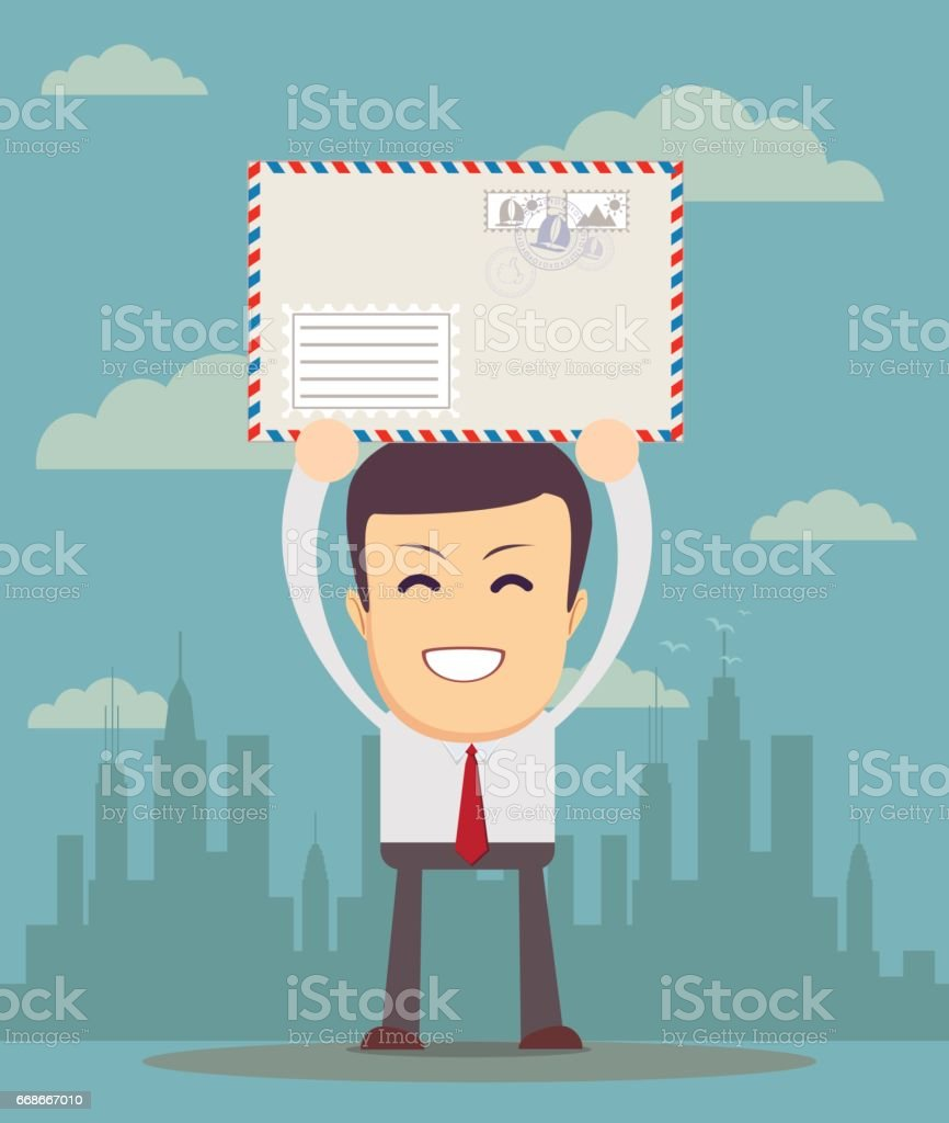 Business man holding envelope vector art illustration