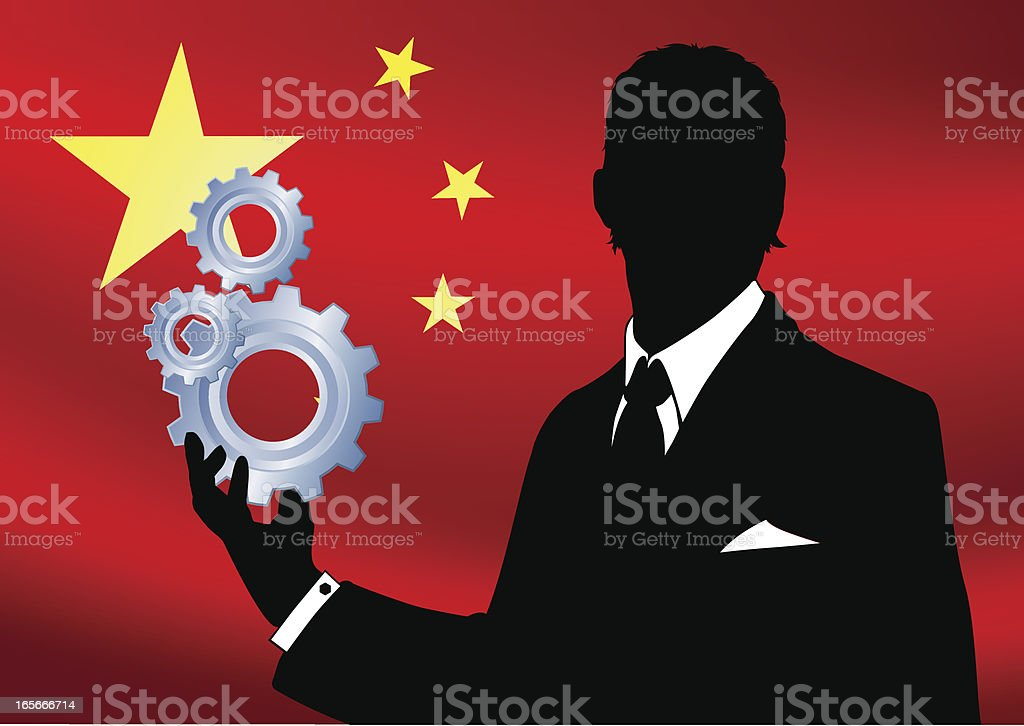 Business man holding gears on front of chinese flag vector art illustration