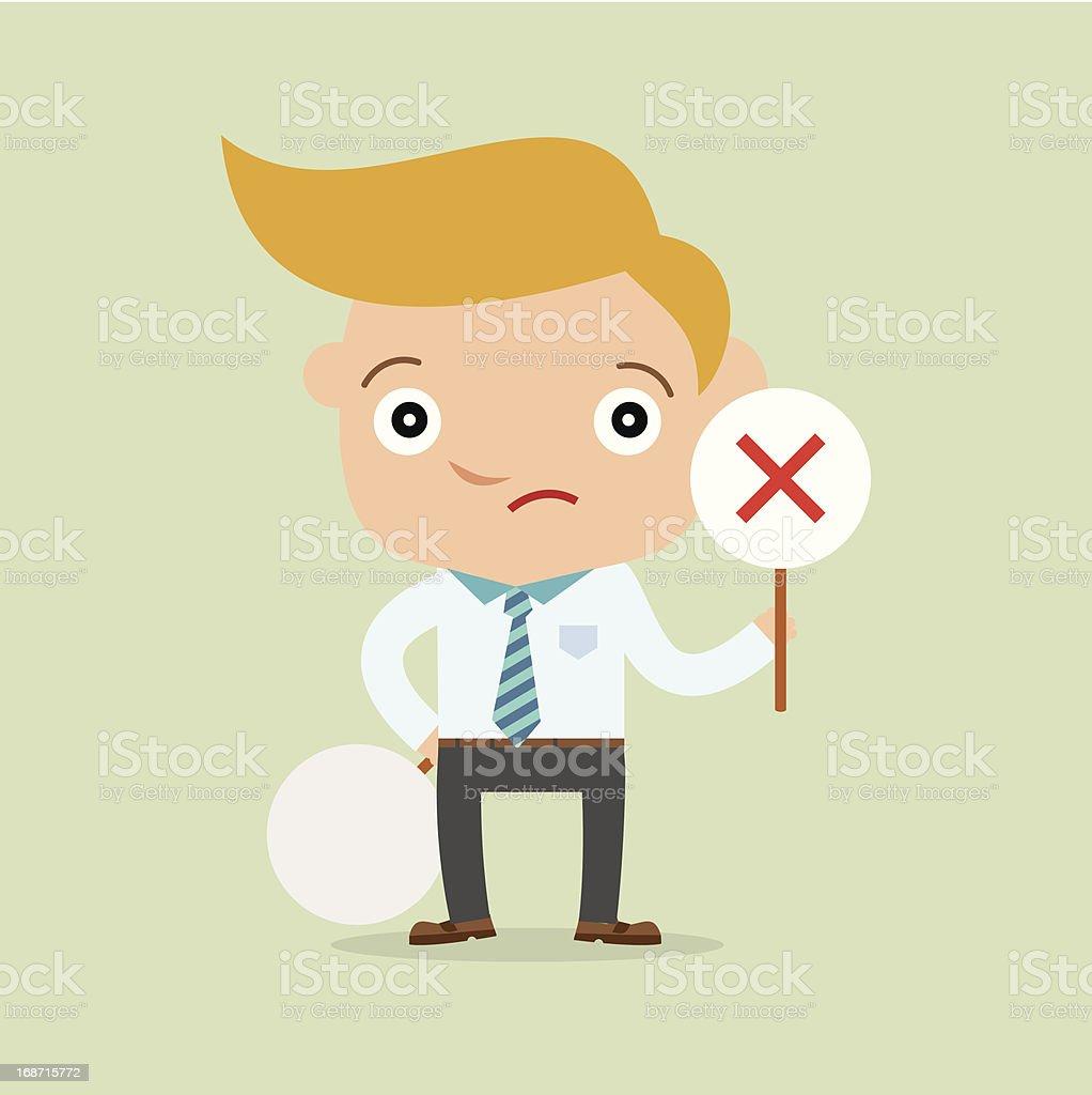 business man holding label No vector art illustration